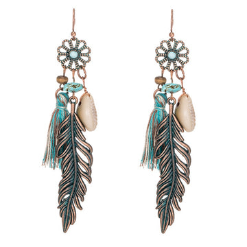 Vintage Leaf and Tassel Bohemian Earrings - Misty and Molly