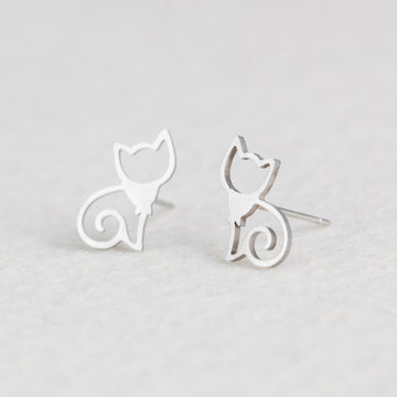 Silver Cat Minimalist Earrings - Misty and Molly