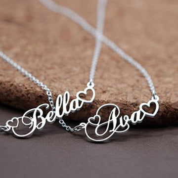 Custom Name Necklace with Tiny Heart - Misty and Molly