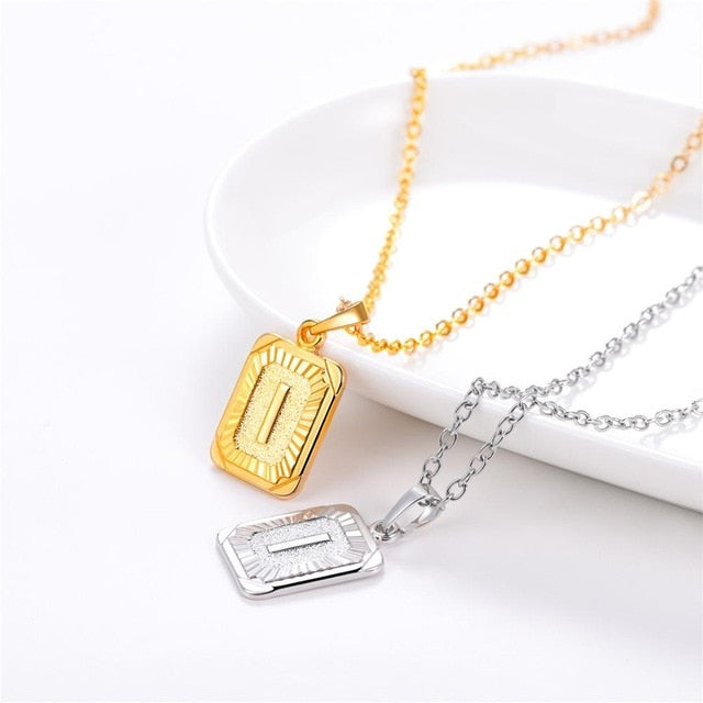 Rectangular Initial Necklace - Misty and Molly