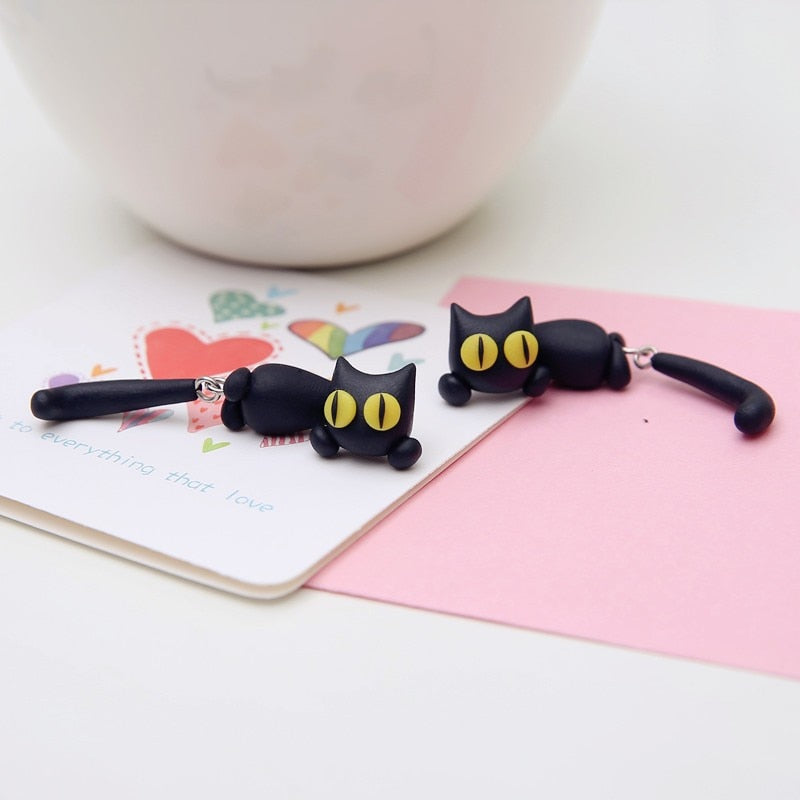 Playful Cat Earrings - Misty and Molly