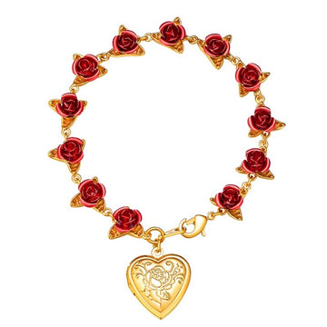 Dozen Roses with Heart Locket Bracelet - Misty and Molly