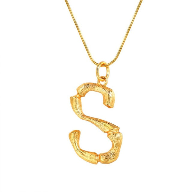 Bamboo-Inspired Initial Necklace - Misty and Molly