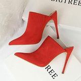 Suede Upper Pointed-Toe High Heel Slippers