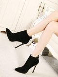 Suede Solid Pointed Ankle Boots
