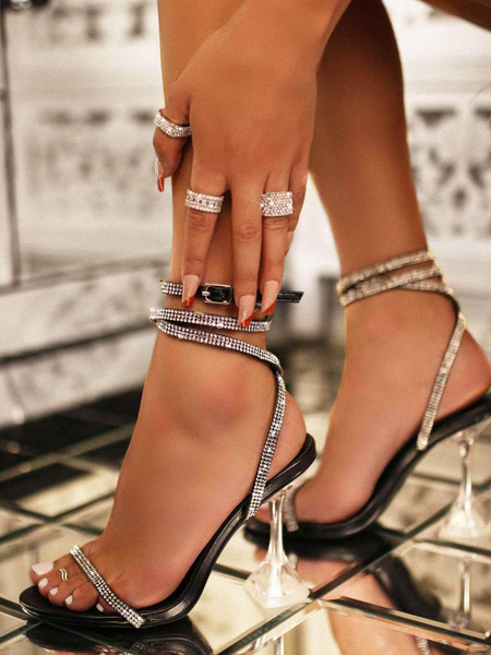 Spool Heel Transparent Rhinestone Sandals