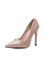 Rivet Slip On High Heel Shoes