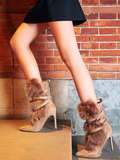 Cross Buckle Strap Suede Fur Boots