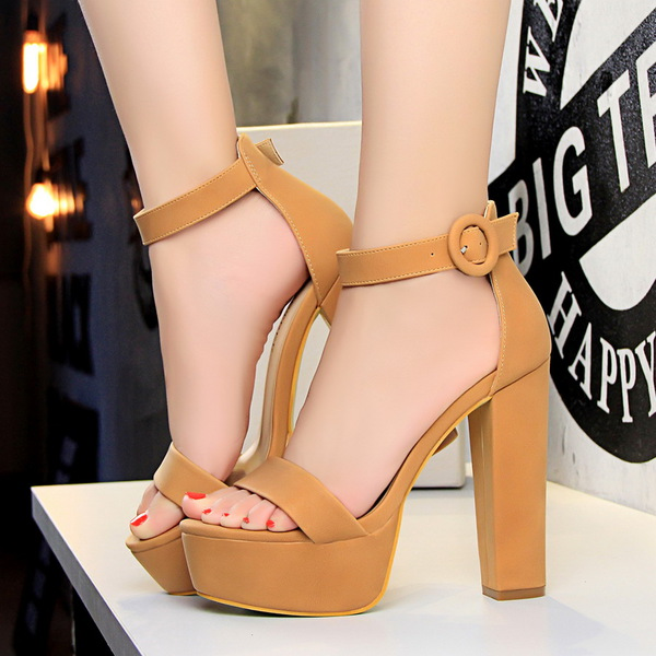 Simple Design A-Buckle Belt Peep Platform Tan Heels