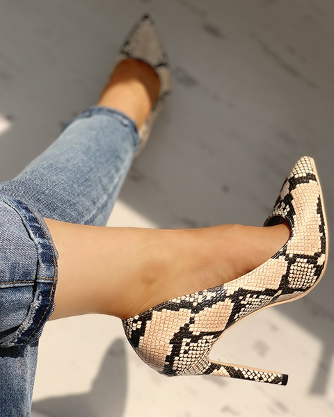 Pointed Toe Snakeskin Print Thin Heels