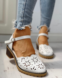 Solid Hollow Out Design Ankle Strap Chunky Heeled Sandals