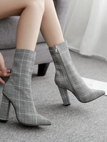 Pointed Chunky Heel Ankle Boots