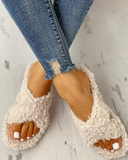 Solid Fluffy Crisscross Design Flat