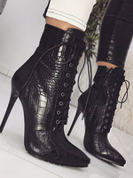 Snake Embossed Front Bandage Boots