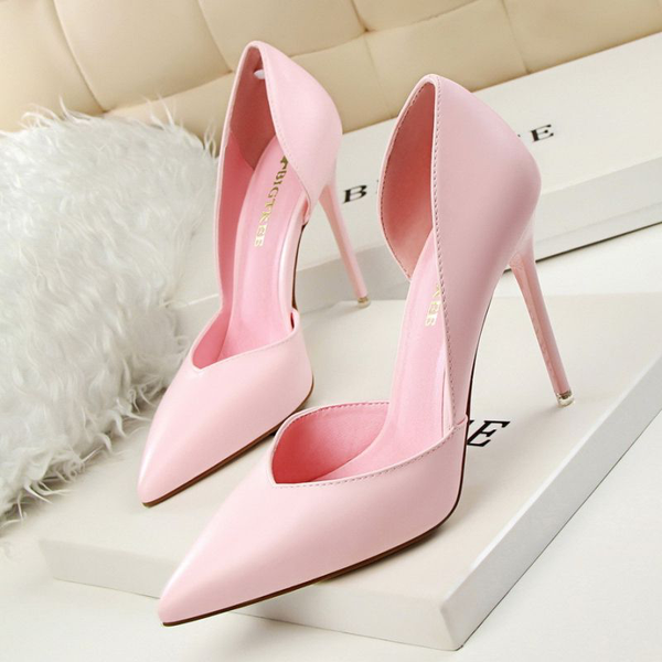 Solid Color Pointed-toe Stiletto