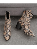 Fashion Pointed Chunky Heel Snakeskin Boots