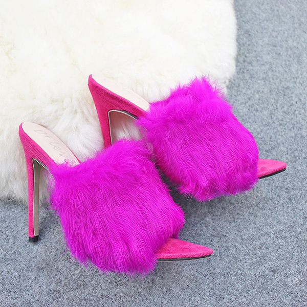 Candy Color Fluffy Upper Peep-toe High Heel Slippers