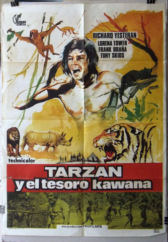 Tarzan y el tesoro Kawana Richard Yesteran Original Spanish US Movie Poster 70s
