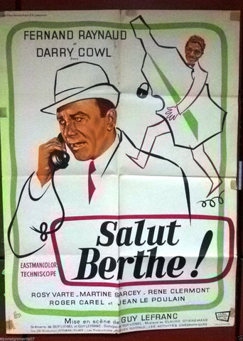 SALUT BERTHE (FERNAND RAYNAUD) 80 x60 cm Original French Movie Poster 60s