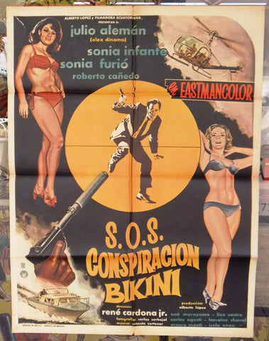 "SOS Conspiracion Bikini (JULIO ALEMAN) 39x27"" Original MEXICO Movie Poster 60s"