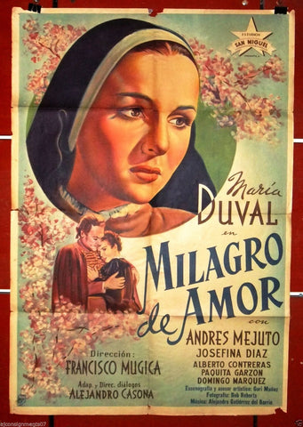 Milagro de amor (María Duval) Org. Argentinean Movie Poster 40s