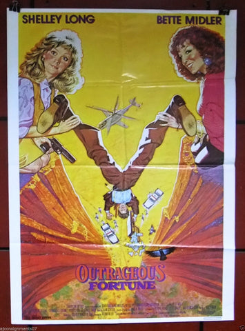"OUTRAGEOUS FORTUNE {Bette Midler} 40x27"" Original Lebanese Movie Poster 80s"