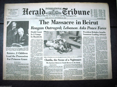 International Herald Tribune {Sabra Massacre Palestinian} Paris Newspaper 1982
