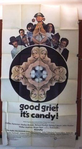 "Candy {MARLON BRANDO} 3sht Original 40""x80"" Movie Poster 1960s"