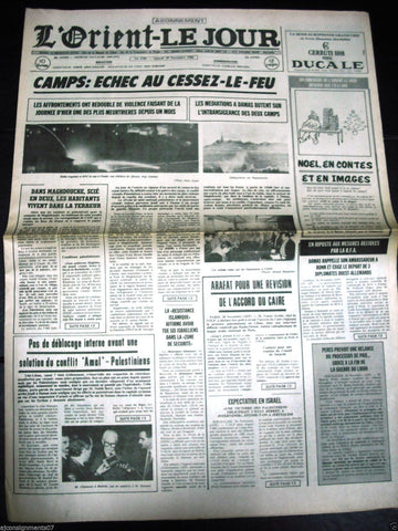 L'Orient-Le Jour {Palestine Bombing} War Lebanese French Newspaper 1986