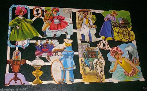 Die Cut Scrap Sheet (Women Kid in Vintage dresses) Glanzbilder MLP #1567 England