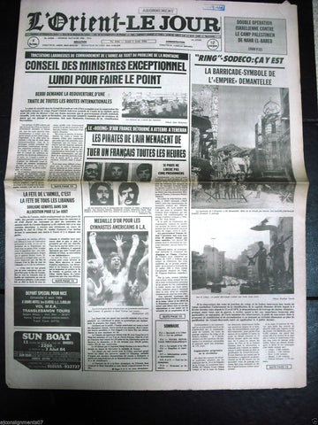 L'Orient-Le Jour {Sodeco Beirut} Civil War Lebanese French Newspaper 1984