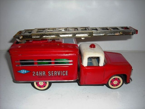 OLD Wrecker Fire Tin Toy Truck Friction Drive /Box Rare