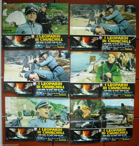 {Set of 7} I Leopardi di Churchill {Klaus Kinski} Italian Lobby Card 70s