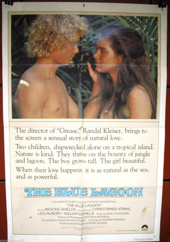 "The Blue Lagoon (Brook Shields) 27x41"" Original Movie Poster 80s"