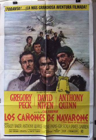 Los cañones de Navarone, GUNS OF NAVARONE Original Spanish US Movie Poster 60s