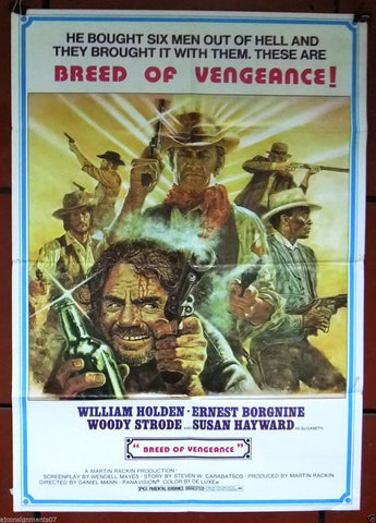 "Breed of Vengeance, The Revengers 40x27"" William Holden Org. Movie Poster 70s"