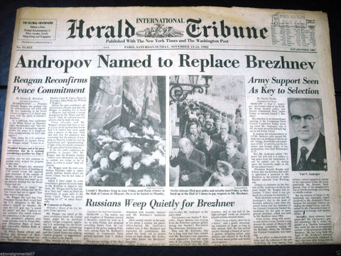 International Herald Tribune {Brezhnev Tributes} Paris Newspaper 1982
