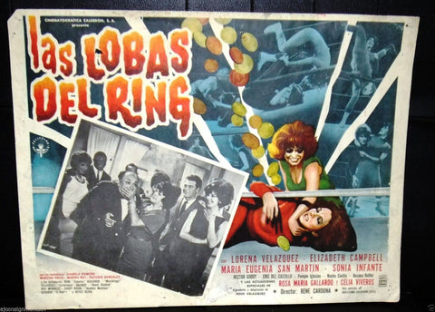 (Set of 4) LAS LOBAS DEL RING {Lorena Velazquez} Original Mexican Lobby Card 60s