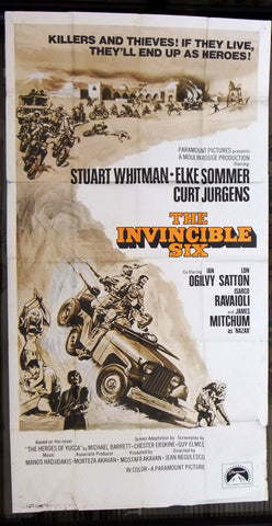"THE INVINCIBLE SIX {ELKE SOMMER} 3sh Org 41""x81"" Movie Poster 1970s"