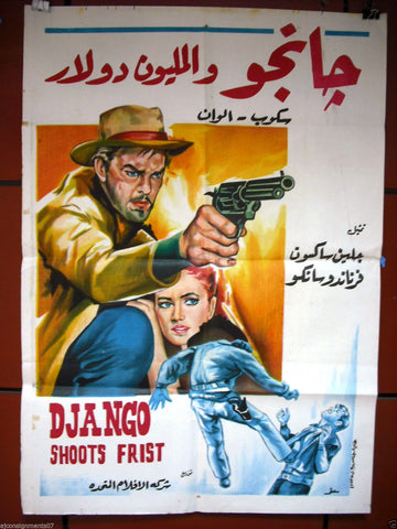 "Django Shoots First (Glenn Saxson) 40x27"" Egyptian Arabic Movie Poster 60s"