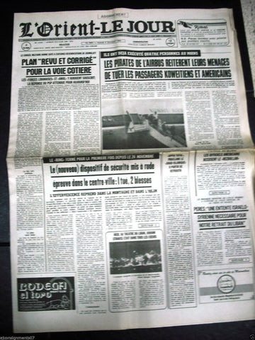 L'Orient-Le Jour {Plane Hijacking Kuwait} Lebanese French Newspaper 1984