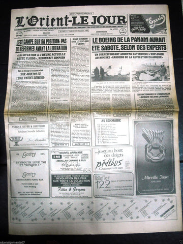 L'Orient-Le Jour {USA Aircraft bombing} Lebanese French Newspaper 23 Dec. 1988