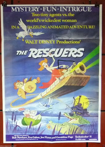 "THE RESCUERS {Disney} 40x27"" Original Lebanese Movie Poster 70s"