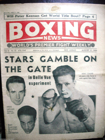 Boxing News Magazine No. 33 Vol 12 Aug 17 (Joe Lucy, Henry Cooper) 1956