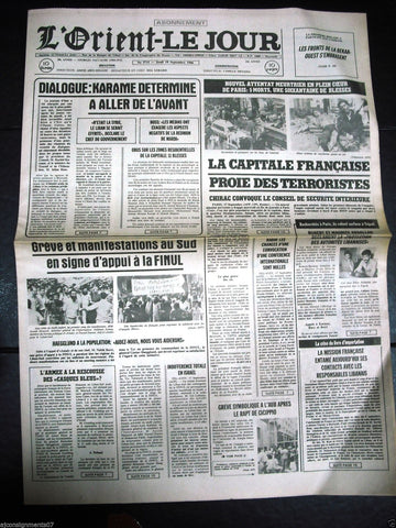 L'Orient-Le Jour {Paris Bombing} Lebanese French Newspaper 18 September 1986