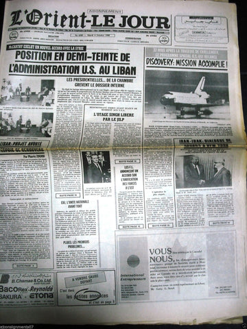 L'Orient-Le Jour {Space Shuttle Discovery} Lebanese French Newspaper 4 Oct. 1988