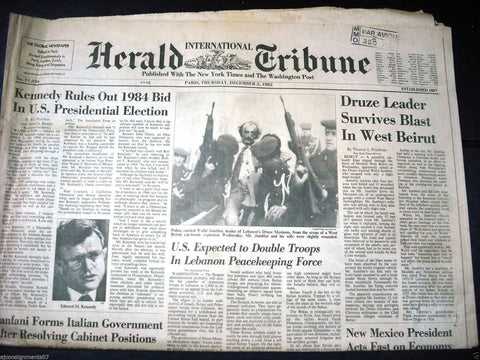International Herald Tribune Jomblatt Assassination Attempt Paris Newspaper 1982