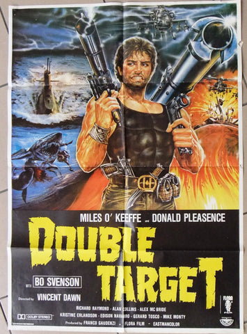 "DOUBLE TARGET (MILES O'KEEFE ) Original 39x27"" Lebanese Movie Poster 70s"