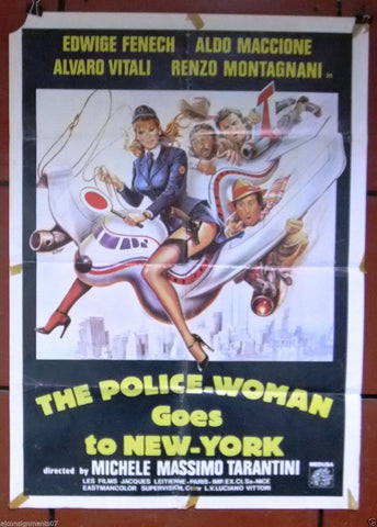 A Police-Woman Goes to New York {Edwige Fenech} 40x27 Lebanese Movie Poster 80s