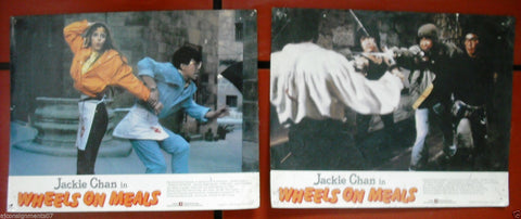 {Set of 2} Wheels on Meals (Jackie Chan) Kung Fu Lobby Card 80s
